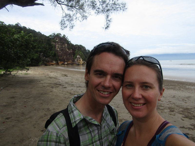 At a beach on our hike in Bako National Park