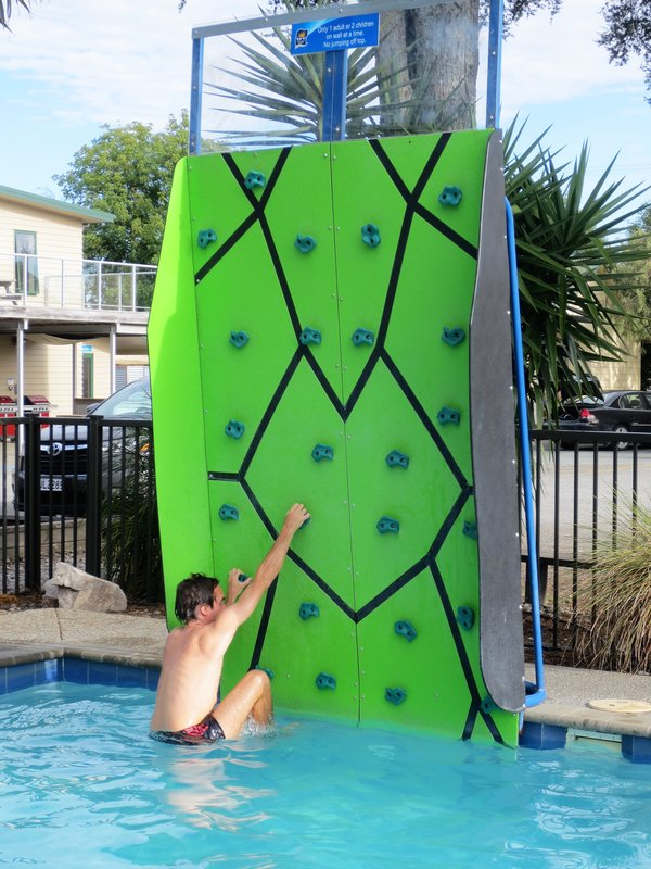 Climbing wall in the pool
