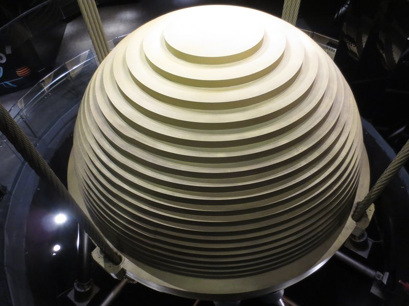 Damper inside Taipei 101, moves up to 1.5meters to counterbalance movements of the building in strong winds