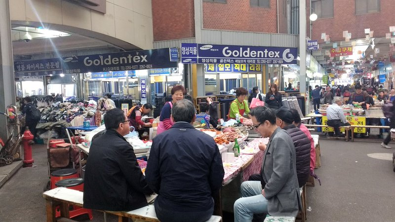 Eating lunch at a local market