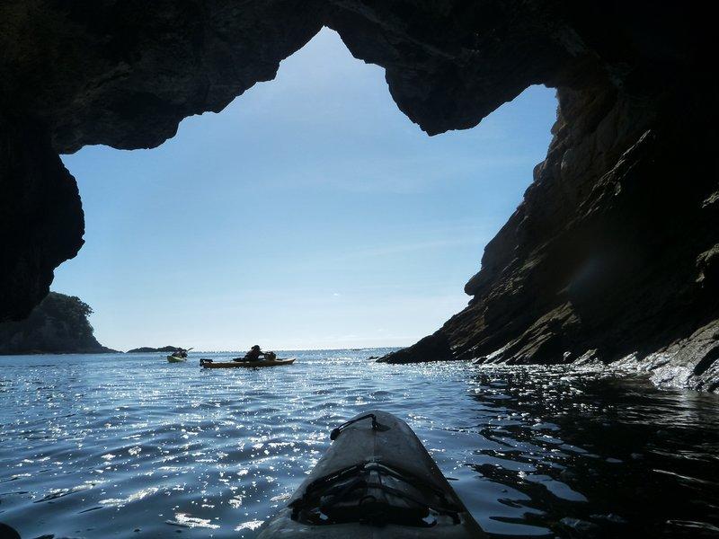 Exiting a sea cave