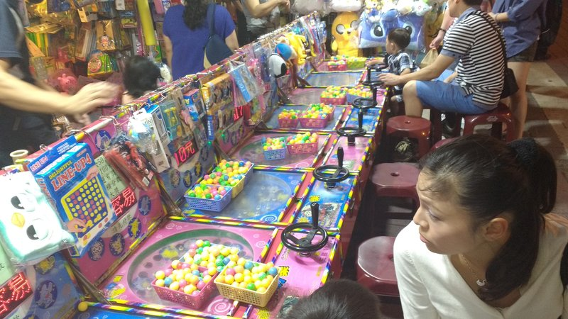 Games with tickets and prizes in the street