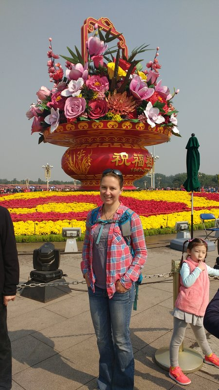 Largest flower pot sculpture in Tiananmen square