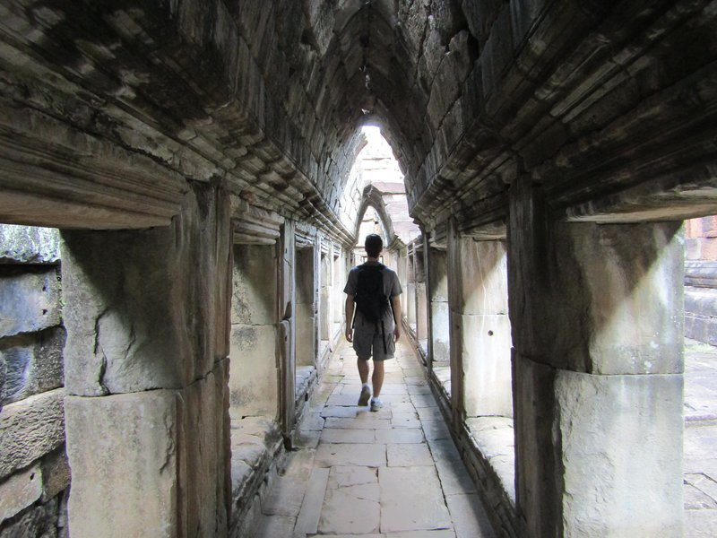 Loic in a long corridor