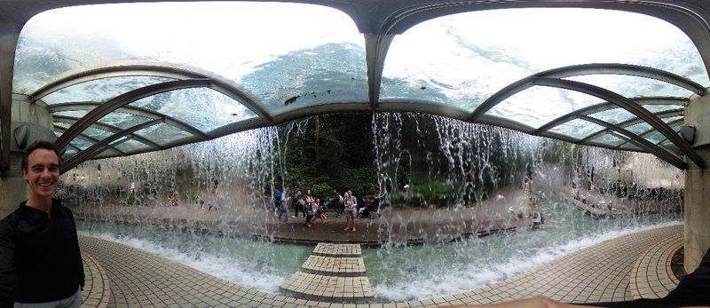 Loic inside the fountain in Hong Kong Park