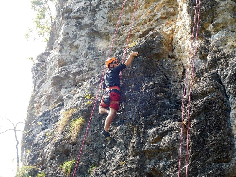 Loic on a warm up climb