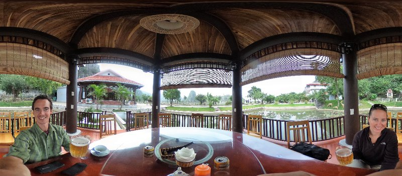 Lunch in a pagoda in a pond