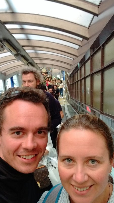 On the world's longest outdoor covered escalator