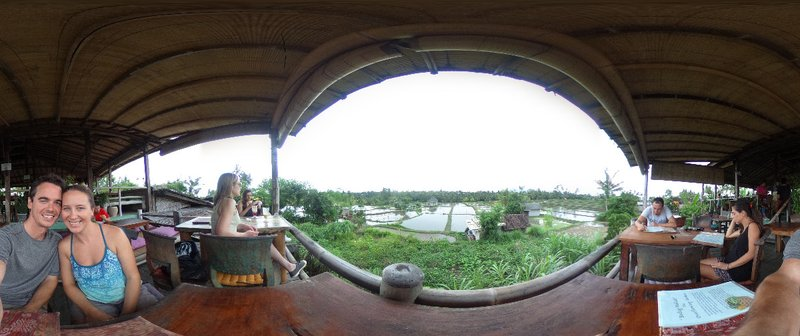 Our lunch with a view of the ricefields