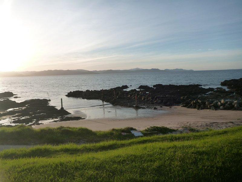 Our sunset view while freedom camping at Matarangi Bay