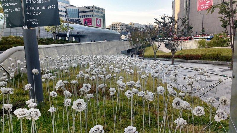 Sculptures of flowers at Dongdaemun Plaza