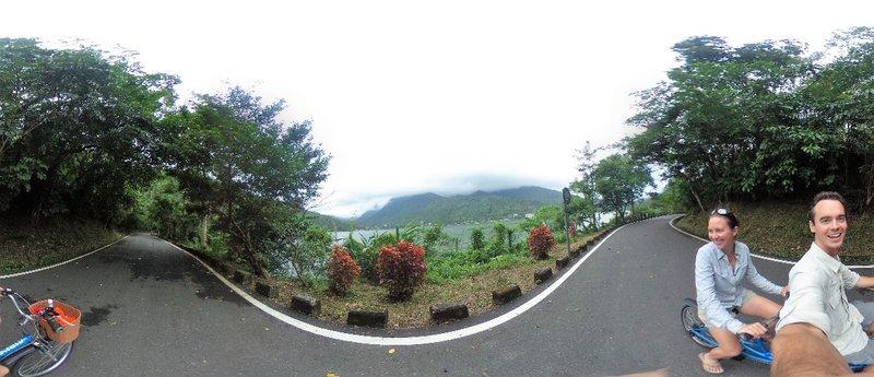 Tandem biking around Lake Liyu