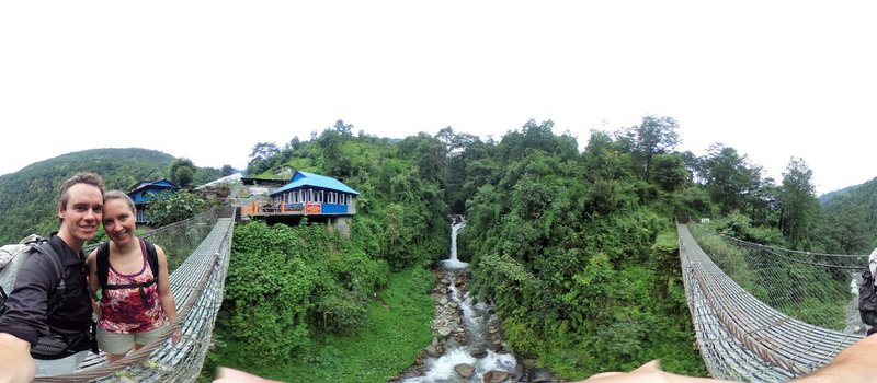 Teahouse, waterfalls and suspension bridge