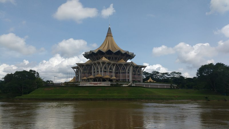 The Sarawak parliament building on the river waterfront
