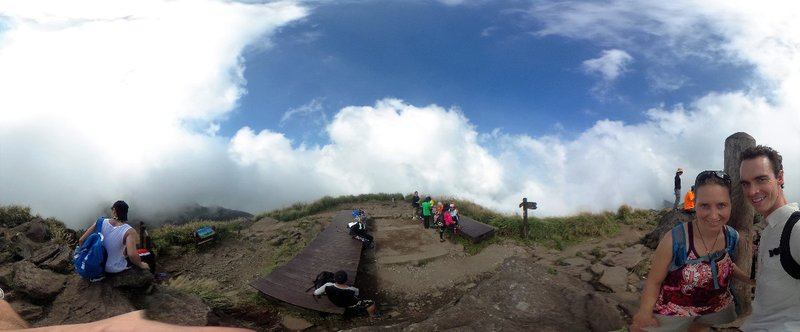 Top of Mt Qixing- too foggy for views of Taipei