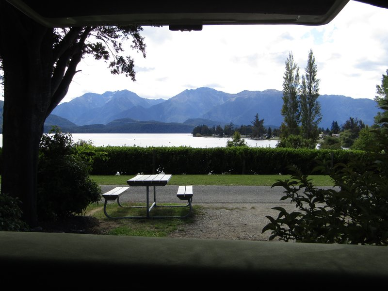 View of Lake Te Anau from our campervan