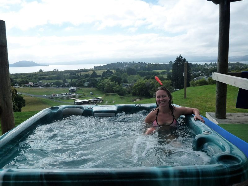 We used a hot tub with a view of Lake Rotorua in between rides