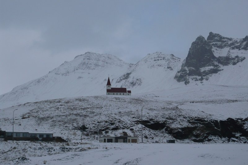 Church on a hill in Vik