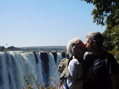 kissing by the falls