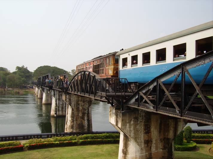 Train on the River Kwai Bridge