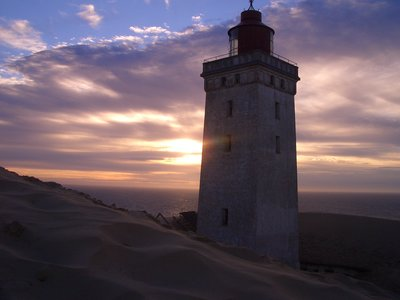 Lighthouse in the dunes, north Denmark