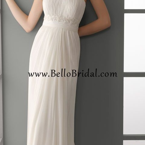 Bellobridal Modern Summer Simple Empire Column Wedding Dress