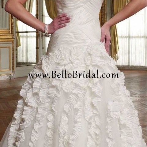 http www bellobridal com Taffeta Tulle Strapless Cascade Wedding Dress
