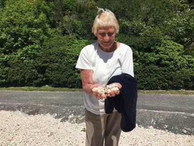 Betty holding shells in Kippford