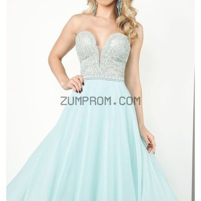 Zum Prom Style MCE11640 Beaded Strapless Chiffon Gown By Evenings By Mon Cheri