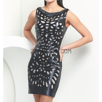 www zumprom com Style TS21554 Cutout Leather Dress By Shorts By Mon Cheri