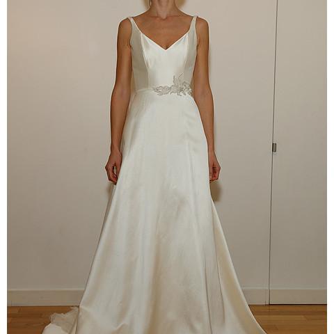 oibridal com Cocoe Voci - Fall 2014 - Magnolia Sleeveless A-Line Wedding Dress With V-Neckline And Floral Detail At Belt