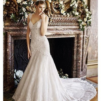 Bodavestido Low Back Lace Bridal Gown With Lace Straps