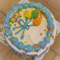 Celebrating family reunion with ice cream cake