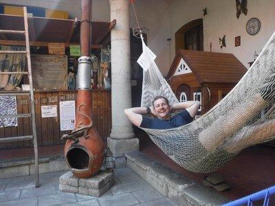 Chilling in hammock at Hostel in Oaxaca