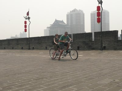 The Bruntons on Xi'an city wall