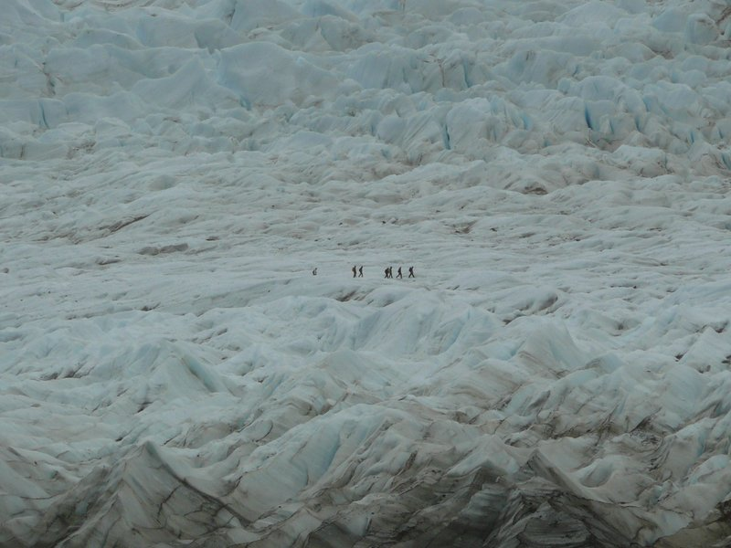 people on the glacier