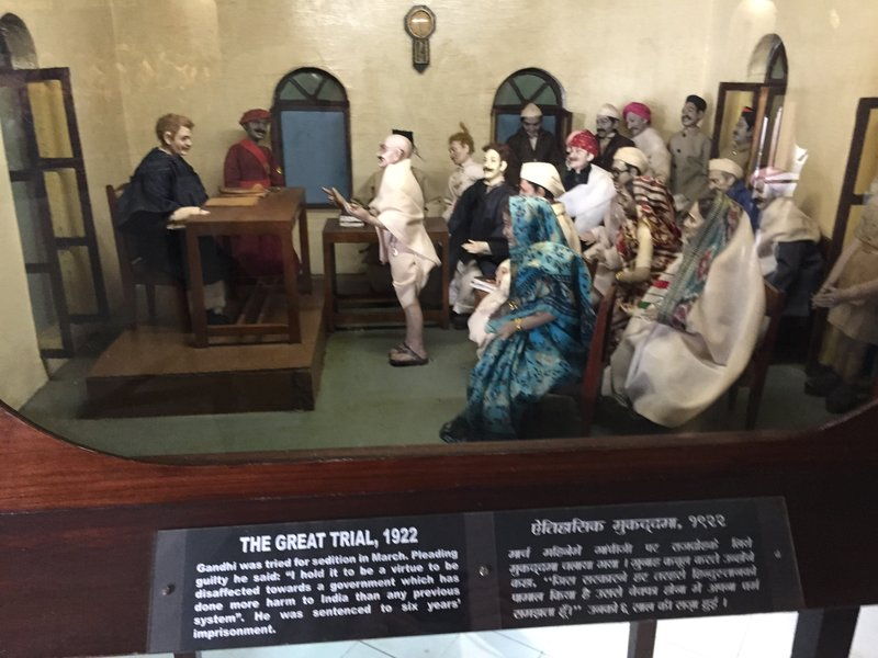 One of many dioramas showing events in Gandhi's life