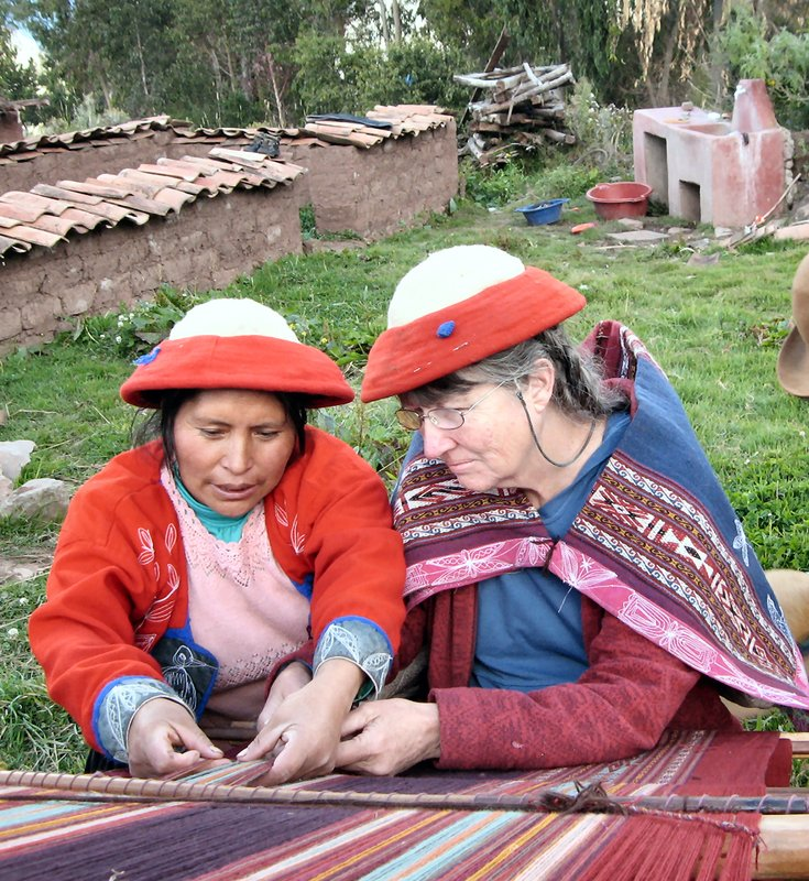 Visiting Qechua weavers, spinners, and knitters in the village of Patabamba, near Cusco, Peru