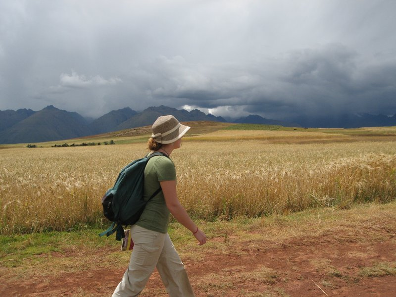 The storm clouds surrounded us as we walked from Moray to the village of Maras, Peru