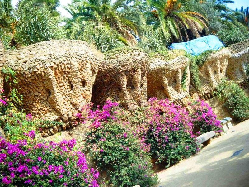 Pillars blending into landscape Parc De Guell - Barcelona
