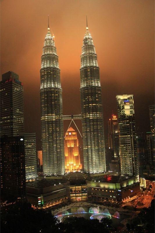 KL Petronas Twin Towers at Night by aussirose - Kuala Lumpur