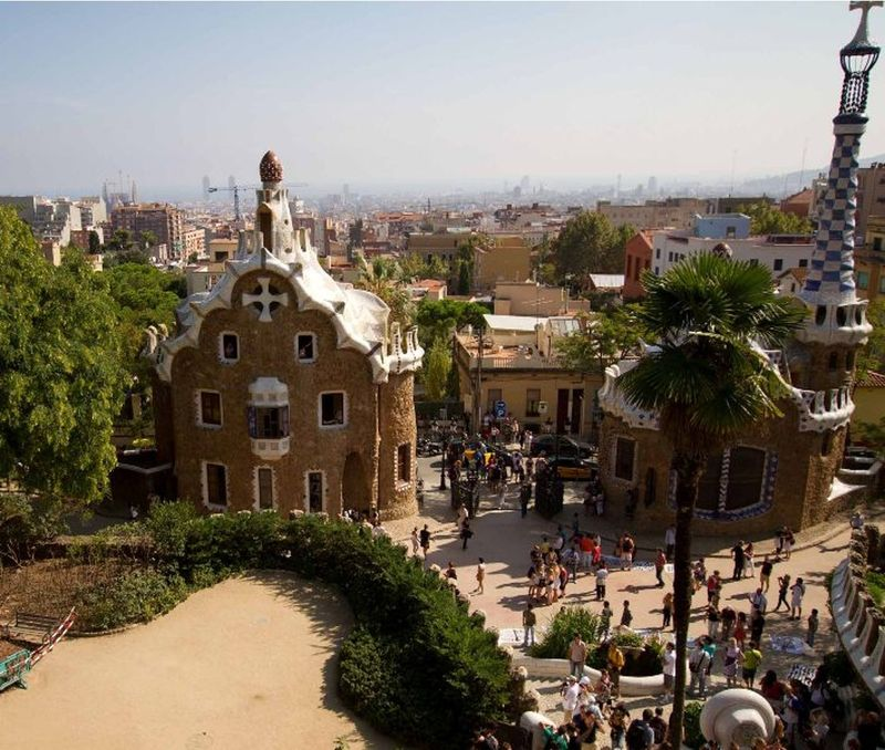 Looking down Barcelona from Parc De Guell - Barcelona