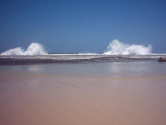Waves breaking over rock wall Hopetoun WA - Hopetoun