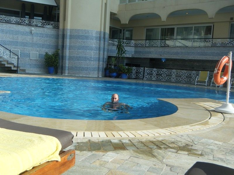 Howie relaxing in our Hotel pool in Casablanca
