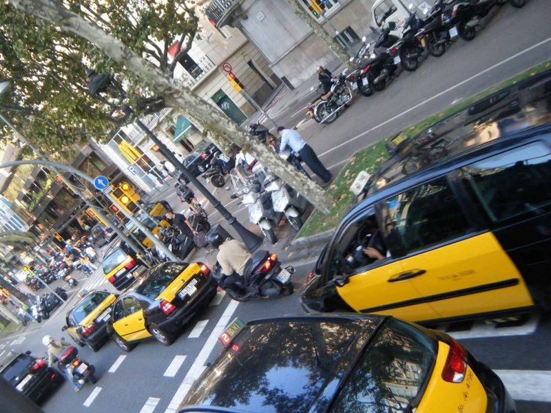 Black and yellow taxis of Barcelona by aussirose - Barcelona