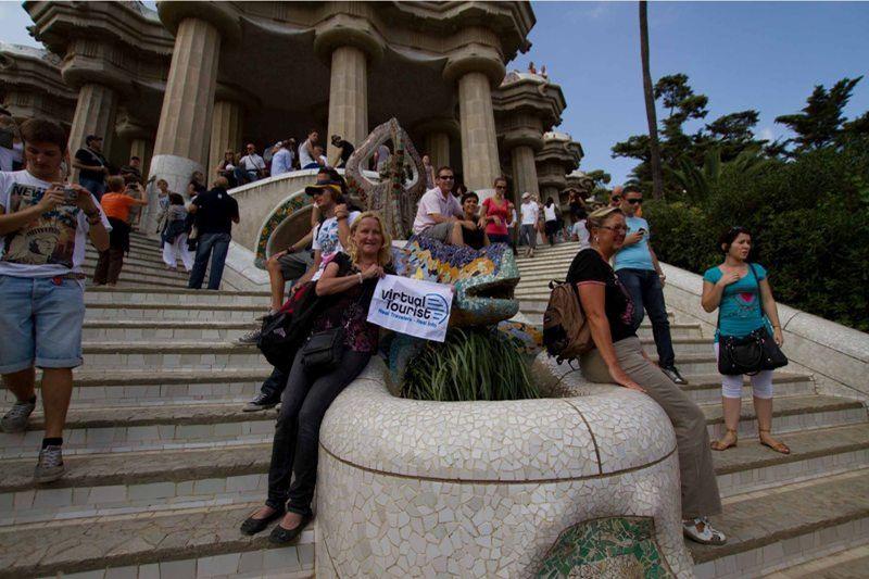 aussirose and vt flag Parc de Guell Barcelona - Barcelona