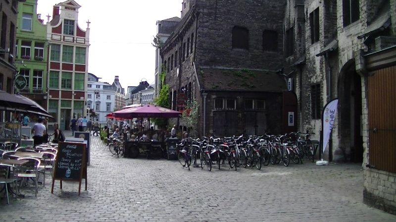 Bikes and cobbledstone streets in Gent Belgium