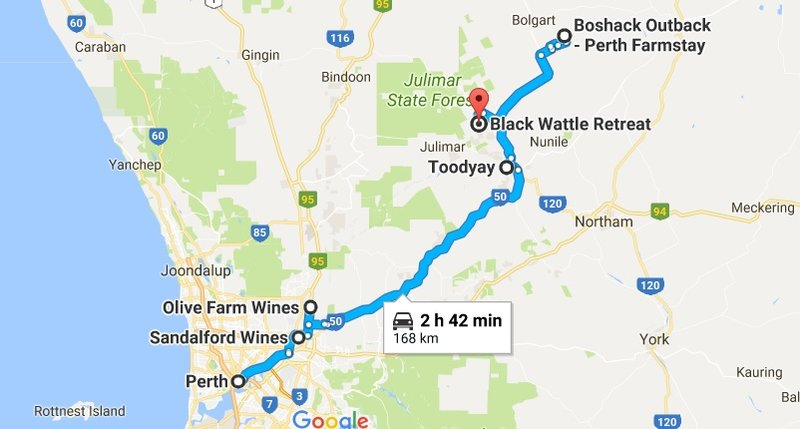 Perth to Toodyay Map