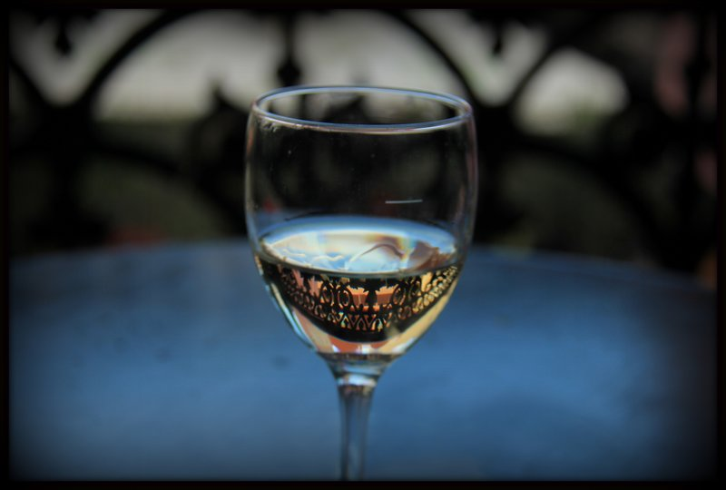 Wine glass with fence reflection