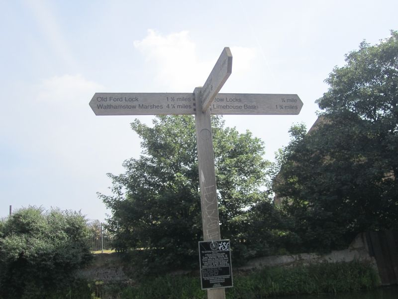 A signpost to the Three Mills